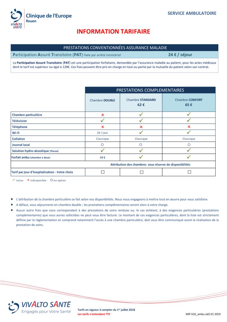Informations sur les tarifs